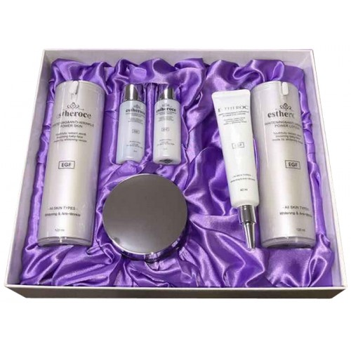 Набор уходовый антивозрастной Estheroce Whitening & Anti-Wrinkle Power Skin Care Set, 120 мл х 2 / 50 мл / 40 мл / 30 мл х 2