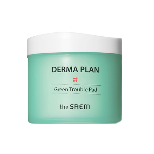 Диски-пилинг для чувствительной кожи The Saem Derma Plan Green Trouble Pad, 70 шт.