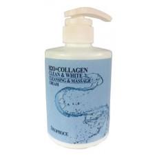 Крем для тела массажный очищающий с коллагеном deoproce h2o+collagen clean & white cleansing & massage cream, 450 мл.