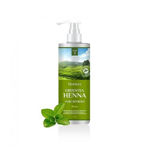 Бальзам для волос Deoproce Rinse Green Tea Henna Pure Refresh с зеленым чаем и хной, 1000 мл