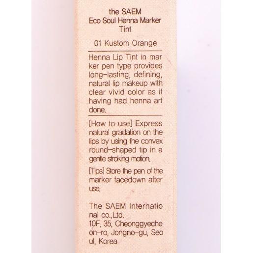 Тинт-маркер для губ The Saem Eco Soul Henna Marker Tint Kustom Orange, 1,2 мл