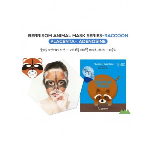 Тканевая маска для лица Berrisom Animal Mask Series Raccoon с экстрактом плаценты, 25 мл