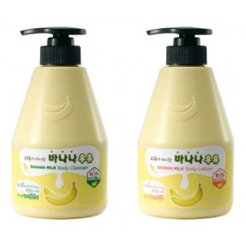 Детский набор из шампуня и лосьона Welcos Kwailnara Banana Milk Baby Special Set банановый, 310 мл + 310 мл