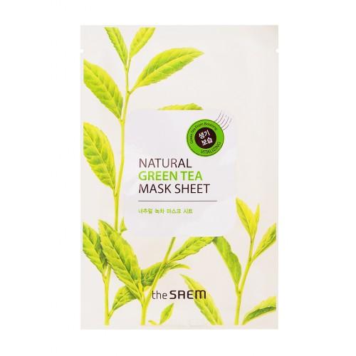 Тканевая маска для лица The Saem Natural Green Tea Mask Sheet с экстрактом зеленого чая, 21 мл