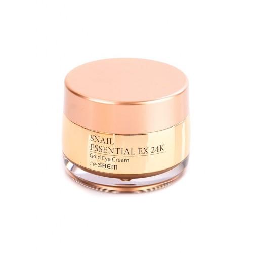 Крем для глаз + вибромассажер The Saem Snail Essential EX 24K Gold Eye Cream Set с муцином улитки, 30 мл