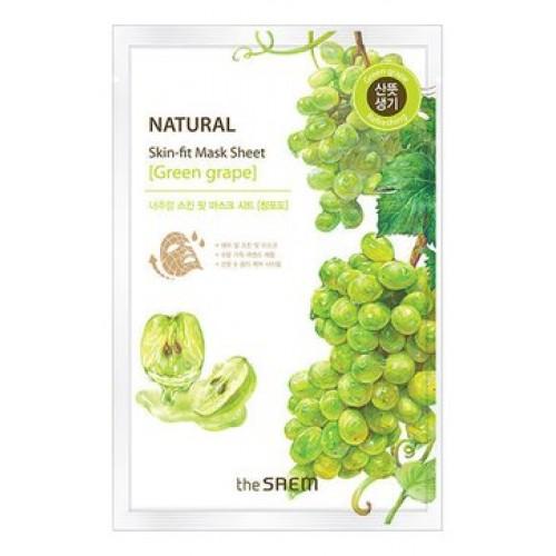 Тканевая маска для лица The Saem Natural Skin Fit Mask Sheet Green Grape с экстрактом винограда, 20 мл