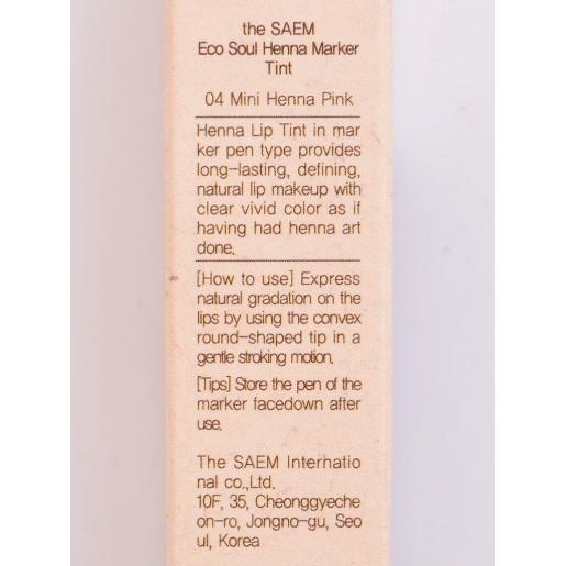 Тинт-маркер для губ The Saem Eco Soul Henna Marker Tint Mini Henna Pink, 1,2 мл