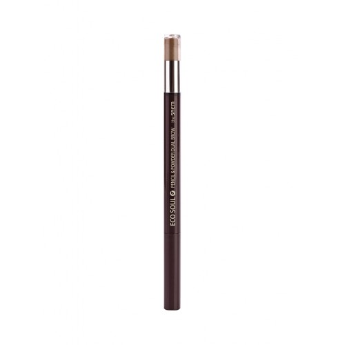 Карандаш-пудра для бровей The Saem Eco Soul Pencil & Powder Dual Brow Deep Brown, 0,5 гр.*0,3 гр.