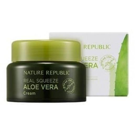 Крем для лица Nature Republic Real Squeeze Aloe Vera Cream, с экстрактом алоэ, 50 мл