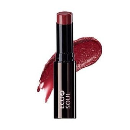 Увлажняющая помада для губ сияющая The Saem Eco Soul Moisture Shine Lipstick BR02 Eeouido Brown, 5,5 гр.
