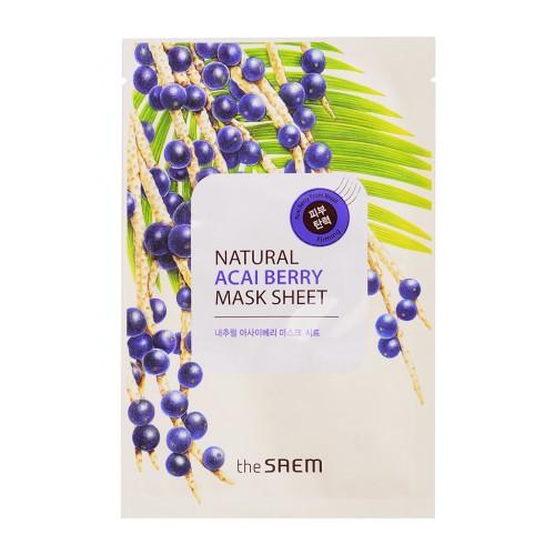 Тканевая маска для лица The Saem Natural Acai Berry Mask Sheet с экстрактом ягод асаи, 21 мл
