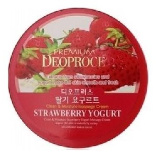 Массажный крем Premium Deoproce Clean & Moisture Strawberry Yogurt Massage Cream с экстрактом клубники, 300 гр.