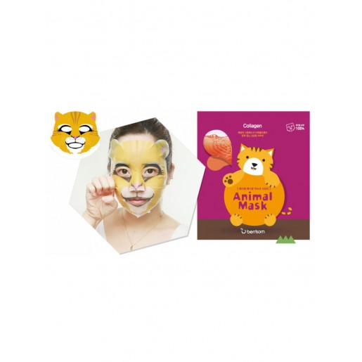 Тканевая маска для лица Berrisom Animal Mask Series Cat с морским коллагеном, 25 мл
