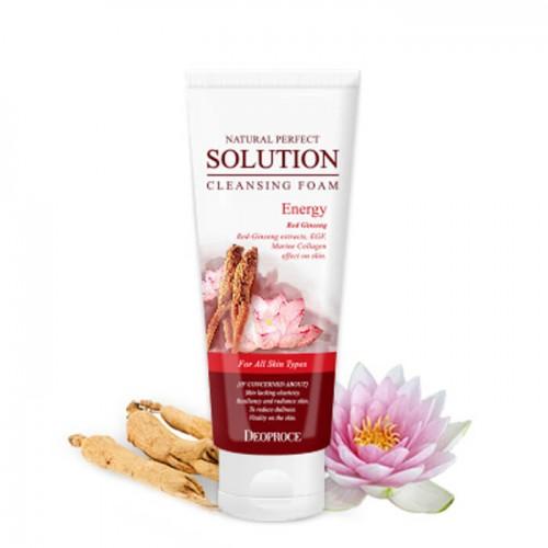 Пенка для умывания Deoproce Natural Perfect Solution Cleansing Foam Energy с экстрактом красного женьшеня, 170 гр.