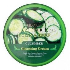 Крем для лица очищающий Premium Deoproce Clean & Deep Сucumber Сleansing Сream с экстрактом огурца, 300 гр.