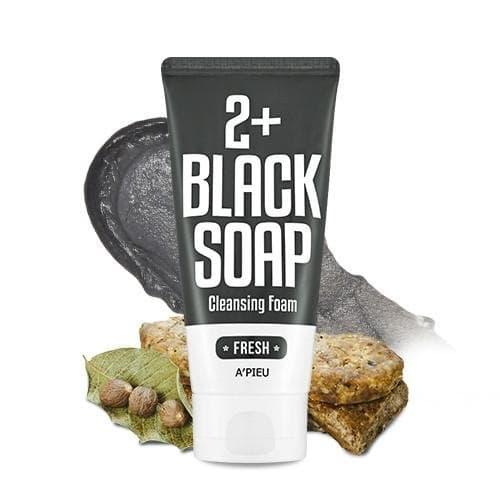 Пенка-мыло для умывания A'Pieu 2+ Cleansing Foam Black Soap Fresh с марокканской глиной, 130 мл