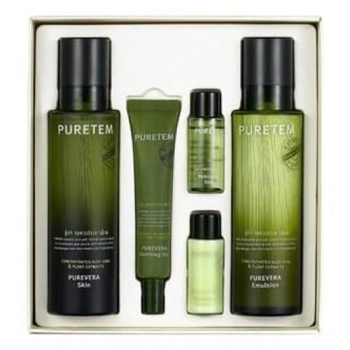 Подарочный набор Welcos Puretem Purevera 2 Items Set с экстрактом алоэ, 2 х 130 мл + 25 мл +2 х 15 мл