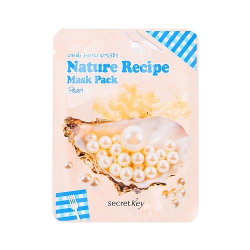Тканевая маска для лица Secret Key Nature Recipe Mask Pack Peal с экстрактом жемчуга, 20 мл