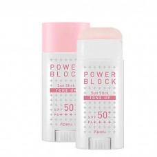 Осветляющий солнцезащитный стик A'Pieu Power Block Tone Up Sun Stick Pink SPF50+/PA++++, 15 мл