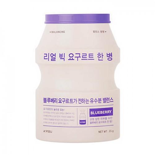 Маска для лица A'Pieu Real Big Yogurt One-Bottle Blueberry, с экстрактом голубики, 21 гр.