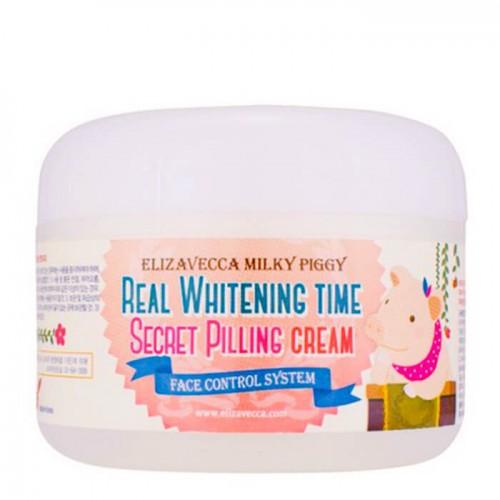 Осветляющий крем Elizavecca Milky Piggy Real Whitening Time Secret Peeling Cream с эффектом пилинга, 100 мл