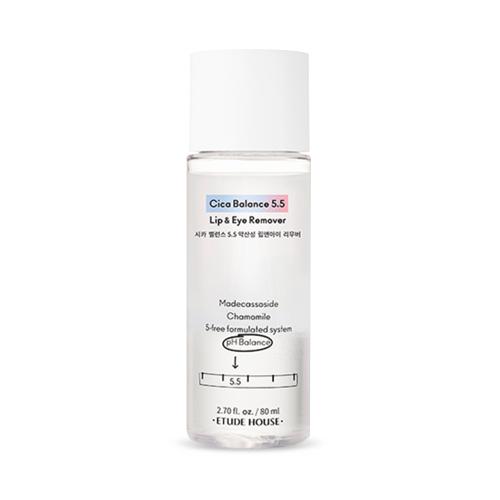 Двухфазное очищающее средство для снятия макияжа с глаз Etude House Cica Balance 5.5 Lip&Eye Remover, 80 мл