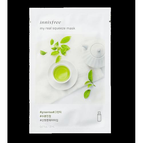 Маска для лица Innisfree My Real Squeeze Mask Green Tea с экстрактом зеленого чая, 20 мл