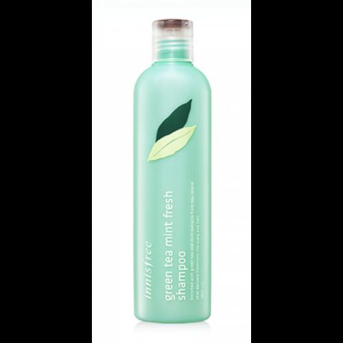 Безсиликоновый шампунь Innisfree Green Tea Mint Fresh Shampoo с экстрактом мяты для глубокой очистки волос и кожи головы, 300 мл