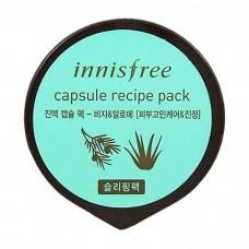 Капусльная ночная маска Innisfree Capsule Recipe Pack Bija & Aloe с экстрактом Торреи и Алоэ, 10 мл