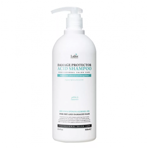 Бесщелочной шампунь La'dor Damaged Protector Acid Shampoo с коллагеном и аргановым маслом, 900 мл