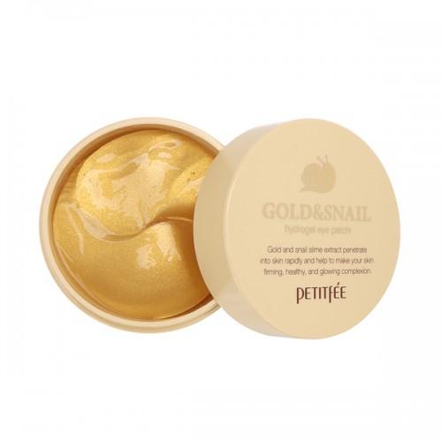 Патчи для глаз Petitfee Gold & Snail Eye Patch с муцином улитки и колоидным золотом, 60 шт.